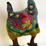Louise-Robertson_Bushtucker-Monster_Cat76-18_woollen-blanket-knitting-wool-cotton-metal-stand_40x23x12cm