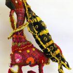 Trudy-Inkamala_Woman-with-Goanna_Cat77-18_woollen-blanket-knitting-wool-cotton-metal-stand_46x32x9cm